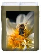 Hoverfly On White Flower Duvet Cover
