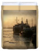 Huddled Boats Duvet Cover