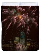 Hudson River Fireworks X Duvet Cover by Clarence Holmes