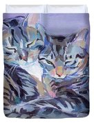Hugs Purrs And Stripes Duvet Cover by Kimberly Santini