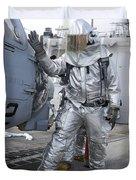 Hull Maintenance Technician Checks An Duvet Cover