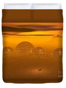 Human Settlement On Alien Planet Duvet Cover