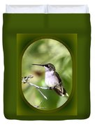 Hummingbird - Gold And Green Duvet Cover