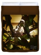 Hummingbird Mother Feeding Her Two Babies II Duvet Cover