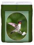 Hummingbird Photo - Light Green Duvet Cover