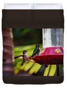 Hummingbirds At The Feeder Duvet Cover