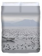 Humpback Whale Diving Amid Seabirds Duvet Cover