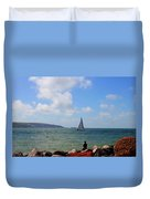 Hurst Point Watching  Duvet Cover