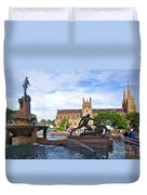 Hyde Park Fountain And St. Mary's Cathedral Duvet Cover
