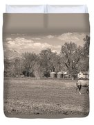 Hygiene Colorado Boulder County Scenic View Sepia Duvet Cover