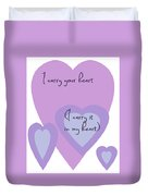 I Carry Your Heart I Carry It In My Heart - Lilac Purples Duvet Cover