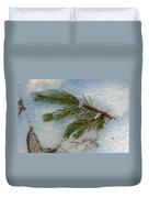 Ice Crystals And Pine Needles Duvet Cover