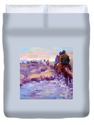 Icelandic Horse Trail Ride Duvet Cover