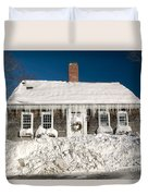Icicles Hang From The Roof Of This Home In Barnstable On Cape Co Duvet Cover