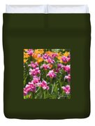 Impressionist Tulips In A Field Duvet Cover