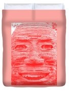 In Your Face In Negative Light Red Duvet Cover