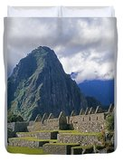 Inca Structures Stand Below Mount Duvet Cover