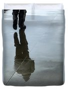 Inclement Winter Pedestrian Duvet Cover
