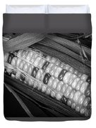 Indian Corn Black And White Duvet Cover