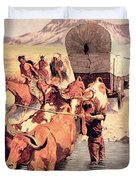 Indians Attacking A Pioneer Wagon Train Duvet Cover by Frederic Remington