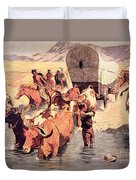 Indians Attacking A Pioneer Wagon Train Duvet Cover