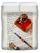 Ink Bottle And Pen  Duvet Cover