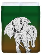 Inked Elephant In Green And Brown Duvet Cover