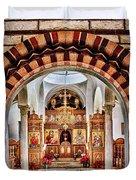 Inside St. Nicholas Chapel At A Greek Monastary In Florence Az Duvet Cover