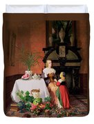 Interior With Figures And Fruit Duvet Cover