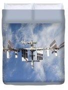 International Space Station Backdropped Duvet Cover
