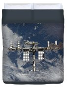 International Space Station Backgropped Duvet Cover