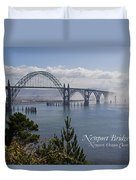 Into The Fog At Newport With Text Duvet Cover