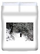 Into The Snowy Forest Duvet Cover