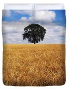 Ireland, Barley Field With Oak Tree Duvet Cover