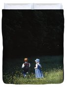 Ireland Children In A Field Duvet Cover by The Irish Image Collection