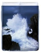 Ireland, Waves Crashing On Rocks Duvet Cover