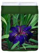 Iris With Rain Drops Duvet Cover