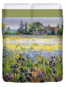 Irises And Two Fir Trees Duvet Cover