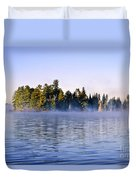 Island In Lake With Morning Fog Duvet Cover