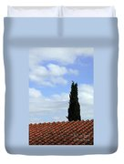Italian Cyress And Red Tile Roof Rome Italy Duvet Cover