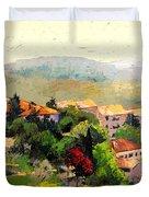 Italian Hillside Village Oil Painting Duvet Cover