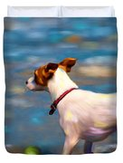 Jack At The Beach Duvet Cover by Michelle Wrighton
