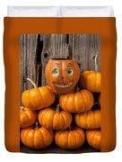 Jack-o-lantern On Stack Of Pumpkins Duvet Cover