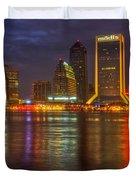 Jacksonville At Night Duvet Cover by Debra and Dave Vanderlaan