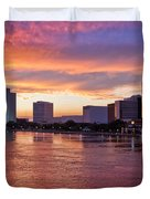 Jacksonville Skyline At Dusk Duvet Cover by Debra and Dave Vanderlaan