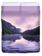 Jacques-cartier River And Mist At Dawn Duvet Cover