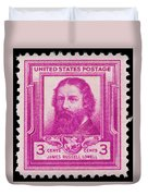 James Russell Lowell Postage Stamp Duvet Cover