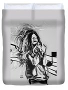 Janis In Black And White Duvet Cover
