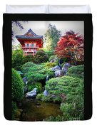 Japanese Garden With Pagoda And Pond Duvet Cover