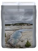 Japanese Woman With Umbrella At Norris Geyser Basin Duvet Cover